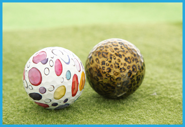 ゴルフボールへ水圧転写